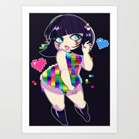 8bit Art Prints featuring 8bit Love by QueenAshi
