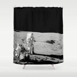 Apollo 14 - Black & White Moon Work Shower Curtain
