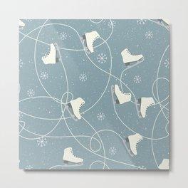 Ice-Skates & Snowflakes Winter Pattern Metal Print