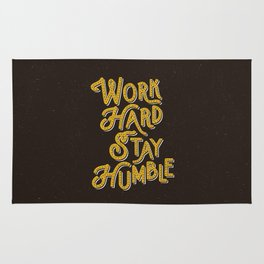Work Hard Stay Humble hand lettered modern hand lettering typography quote wall art home decor Rug