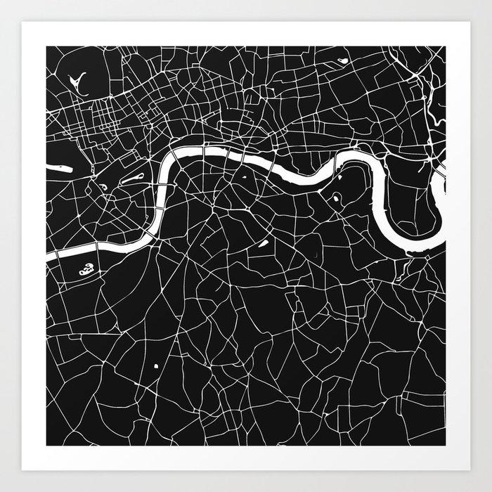 Printable London Street Map.London Black On White Street Map Art Print