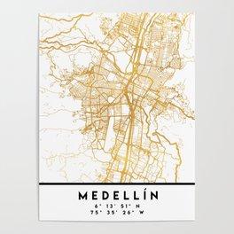 MEDELLÍN COLOMBIA CITY STREET MAP ART Poster