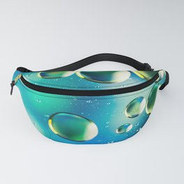 Macro Water Droplets  Aquamarine Soft Green Citron Lemon Yellow and Blue jewel tones Fanny Pack