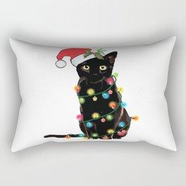 Black Santa Cat Tangled Up In Lights Christmas Santa Illustration Rectangular Pillow