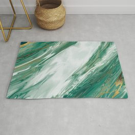 Emerald Jade Green Gold Accented Painted Marble Rug