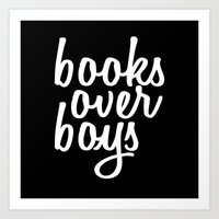 Art Print featuring Books over boys black and white GY by GENYOLO