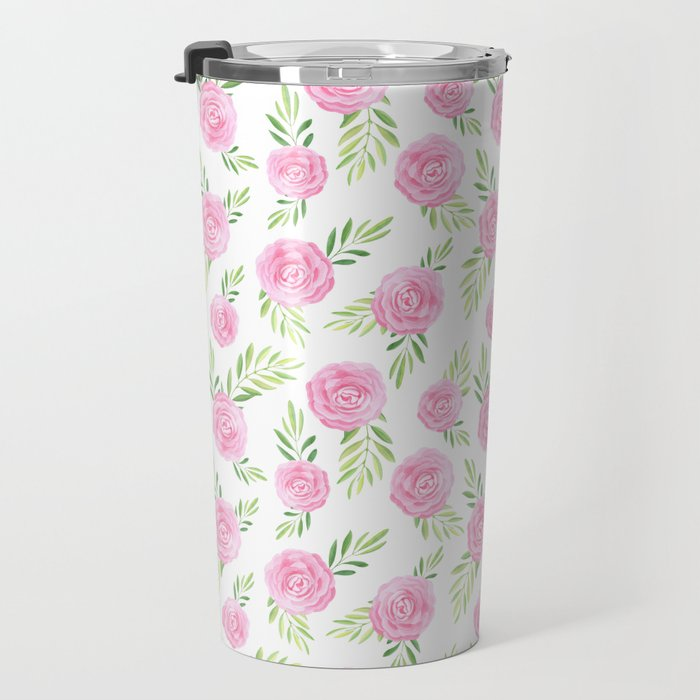 Blush pink green modern watercolor hand painted camellias Travel Mug