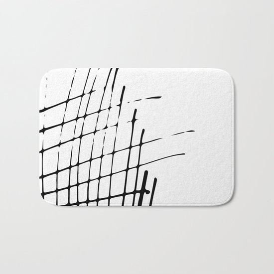 Grid Sketch Black and White Bath Mat