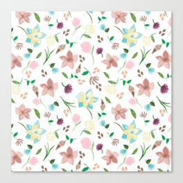 Tropical pastel themed pattern Canvas Print