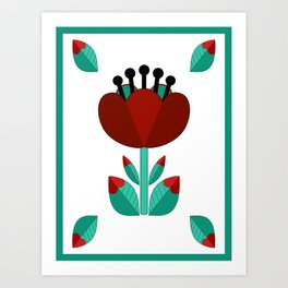 Tulip and Love Leaf Art Print