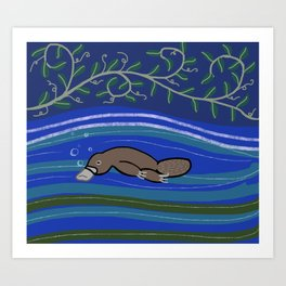 Night Platypus Art Print