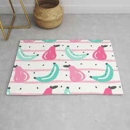 cute colorful hand drawn summer pattern with bananas, seed and pears on striped background Rug