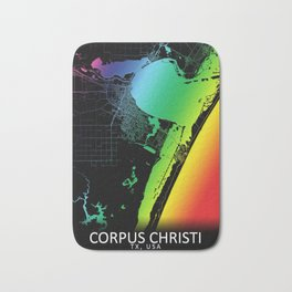 Corpus Christi TX USA City Map Rainbow City Map Art Print Bath Mat