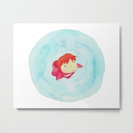 Ponyo Watercolor Metal Print