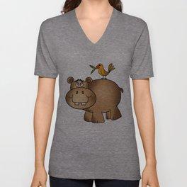 Hippo Po and Birdie Unisex V-Neck