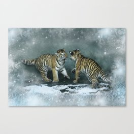 Playful Tiger Cubs Canvas Print
