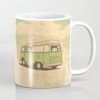 vw bus Mugs featuring VW Bus by QRS Patterns