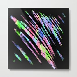 Abstract pink teal lime green black watercolor brushstrokes Metal Print