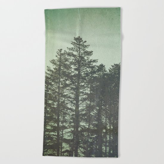 Trees in Fog Beach Towel