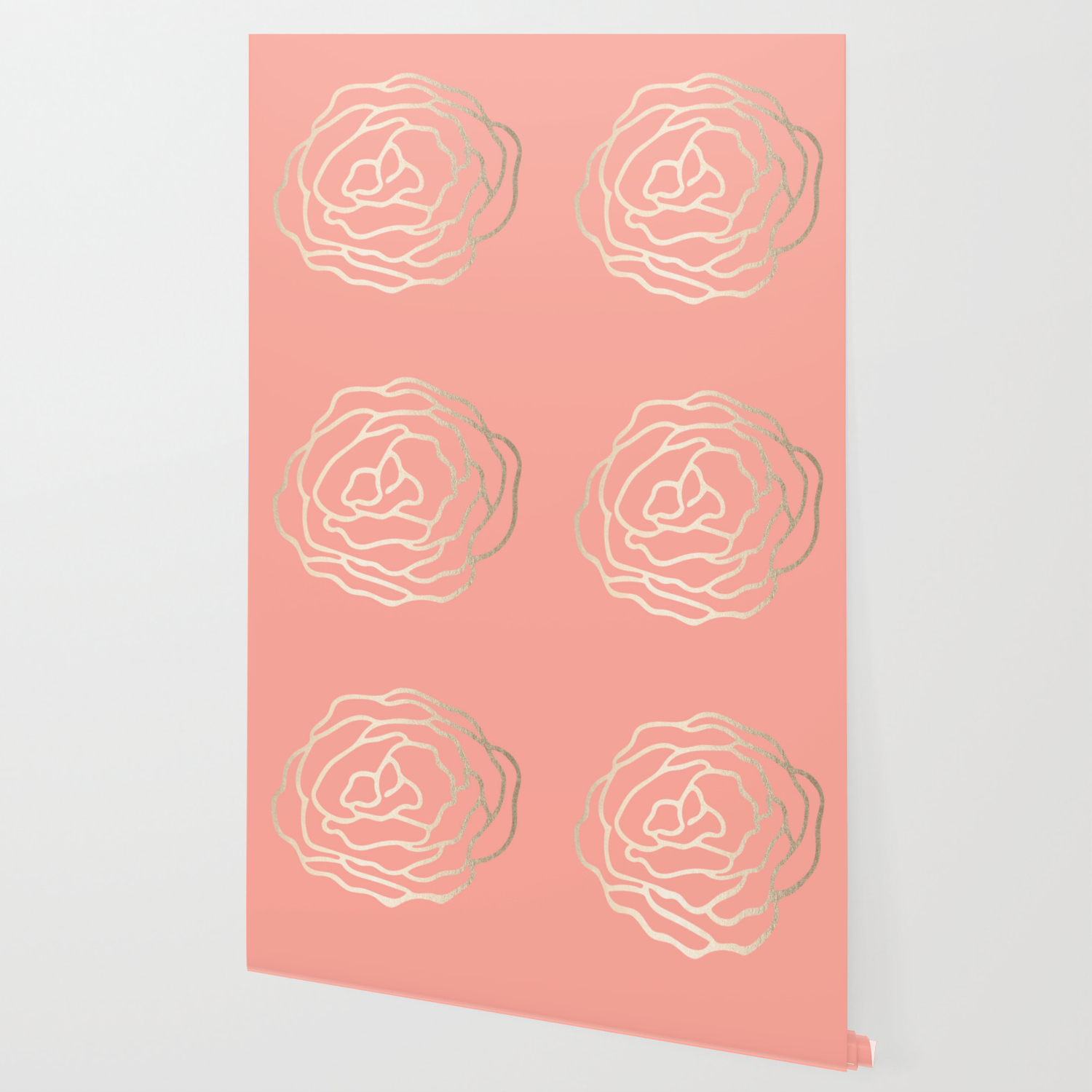 Flower In White Gold Sands On Salmon Pink Wallpaper By