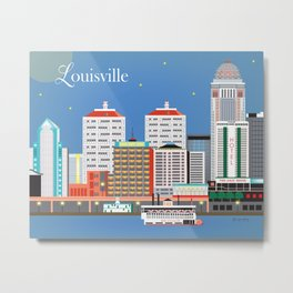 Louisville, Kentucky - Skyline Illustration by Loose Petals Metal Print