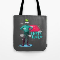super hero Tote Bags featuring SUPER HERO by SNEP