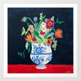 Bouquet of Flowers in Blue and White Urn on Navy Art Print