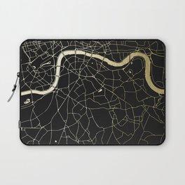 London Black on Gold Street Map Laptop Sleeve