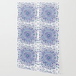 Indigo Flowered Mandala Wallpaper