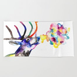Winter Stag fantasy Christmas Gifts Beach Towel
