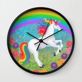 kismet (rainbow unicorn), rainbow, zinnias Wall Clock