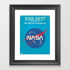 Enlist to become an Astronaut! Vintage nasa poster Framed Art Print