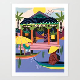 Water Village, Cambodia Art Print