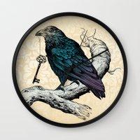 key Wall Clocks featuring Raven's Key by Rachel Caldwell