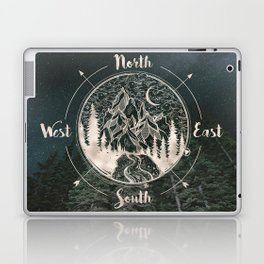 Mountains Compass Milky Way Woods Gold Laptop & iPad Skin