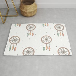 cute cartoon flat pattern background with native american indian dreamcatcher Rug