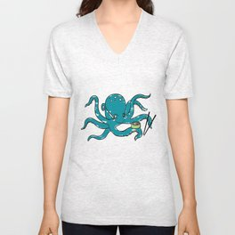 Hungry Octopus Unisex V-Neck