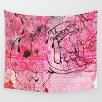 hippo Wall Tapestries featuring Pink Cake Hippo by Supermaggie
