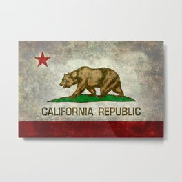 State flag of California in Grunge Metal Print