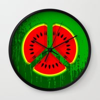 watermelon Wall Clocks featuring Watermelon by mailboxdisco