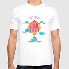 Fly High White MEDIUM Mens Fitted Tee