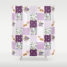 Corgi Patchwork Print - purple ,florals , floral, spring, girls feminine corgi dog Shower Curtain