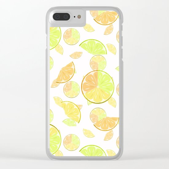 Abstract pattern with slices of citrus fruit . Clear iPhone Case