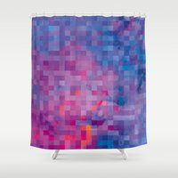 pixel Shower Curtains featuring Pixel by Marta Olga Klara