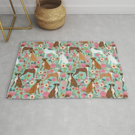 Boxer dog breed florals mint pastel turquoise cute pet portrait animal fur baby must have gifts  Rug
