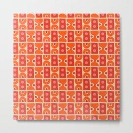 Mid Century Abstract Pattern Orange & Red Metal Print
