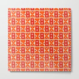 Mid Century Abstract Pattern Orange & Red Metal Print