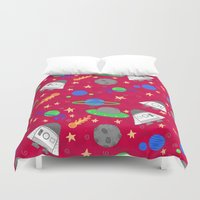 ships Duvet Covers featuring Space Ships by lindsey salles