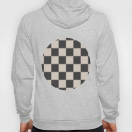 Traditional Checkerboard, Ecru-Beige and Chocolate-Deep Brown Hoody