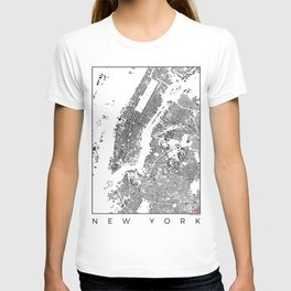 New York Map Schwarzplan Only Buildings T-shirt